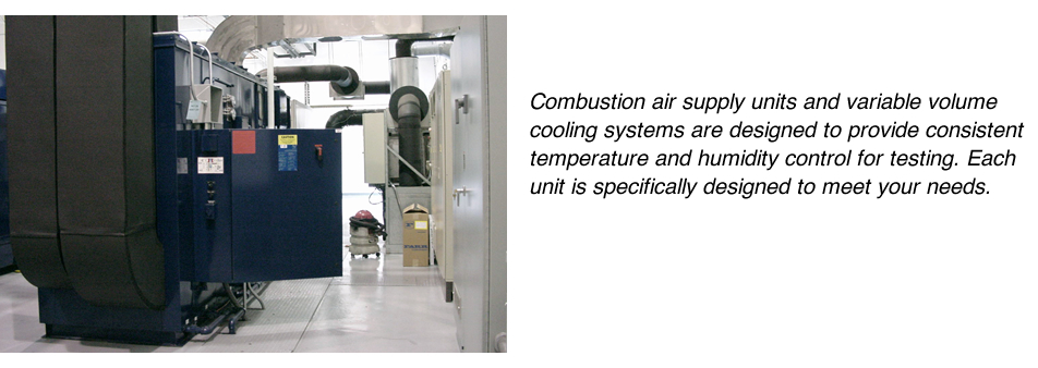 Combustion air supply units and variable volume cooling systems